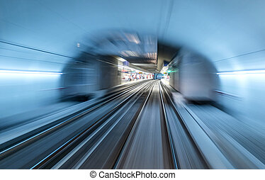 Real tunnel with high speed - Underground train tunnel,...