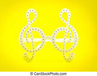 G clef glasses on yellow background - G clef glasses pattern...