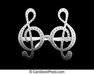 G clef glasses on black background - G clef glasses pattern...
