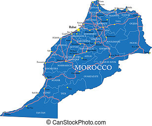 Morocco map - Highly detailed vector map of Morocco with...