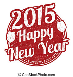 Happy new year stamp - Happy new year grunge rubber stamp on...