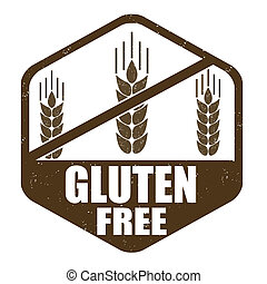 Gluten free stamp - Gluten free grunge rubber stamp on white...
