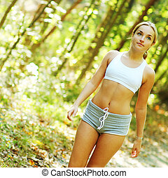 Pretty Young Runner - Pretty young girl runner in the forest...