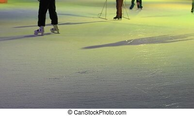 People skate on ice. Ice skating.