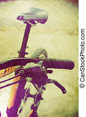 vintage bicycle - Detail of vintage bicycle handlebar and...