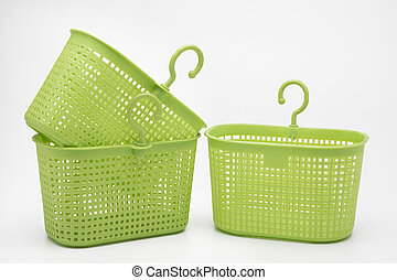 Plastic basket on isolated white background