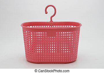 Plastic basket on isolated white background