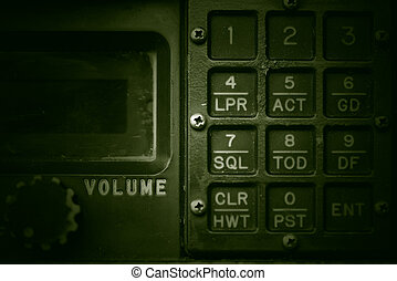 Military communication control panel, grunge style.