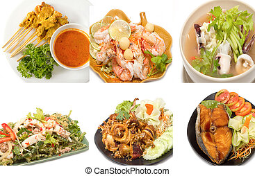 Variety of popular thai food