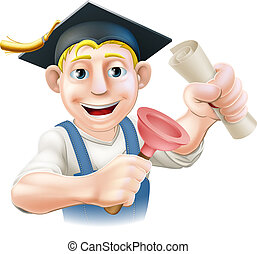 Qualified plumber - A plumber or janitor with mortar board...