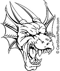 Dragon mascot - An illustration of a mean looking dragon...