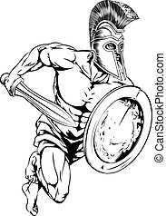 Sword and shield mascot - An illustration of a gladiator...