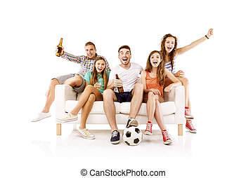 Group of young football fans on sofa - Group of happy young...