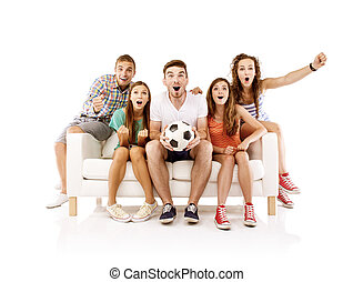Group of young people on sofa with ball - Group of happy...