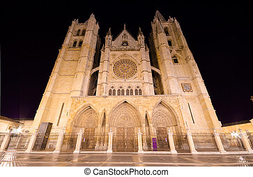 Leon cathedral at night, Leon, Spain