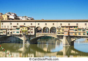 Scenic view of Famous landmark Ponte Vechio in Firence,...
