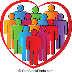 Teamwork heart people charity logo - People in a heart...