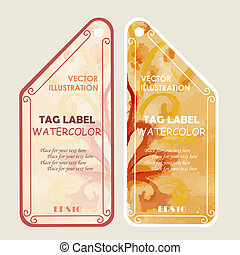 Watercolor tags label. Vector illustration.