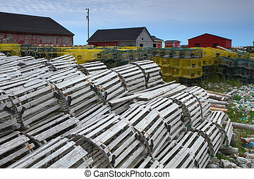 Fishing village and lobster traps