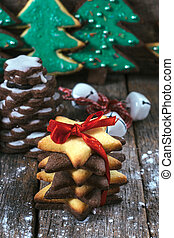 Gift gingerbreads cookies - Selective focus on the front...