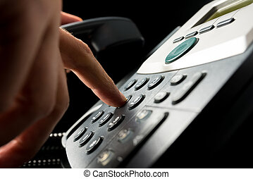 persona, el marcar, afuera, landline, teléfono