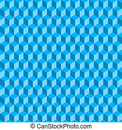 Blue 3D Cubes Abstract Seamless Background. Vector