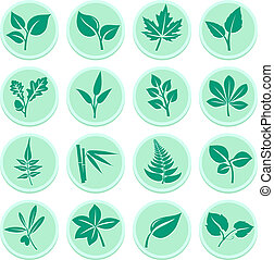 Green Leafs Icons - Stylized Selection of Vibrant Green Leaf...