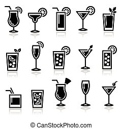 Cocktails, drinks glasses icons - Alcohol icons set -...