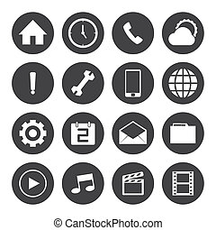 Black and White mobile icons setVector EPS10