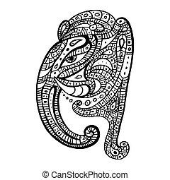 słoń, głowa, Ganesha, Ręka, pociągnięty, Ilustracja