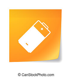 Orange sticky note with a battery