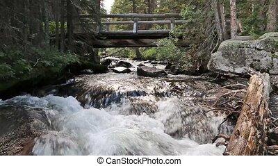 Stream Flowing Under Hiking Bridge
