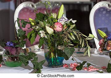 designer bouquet on a banquet table