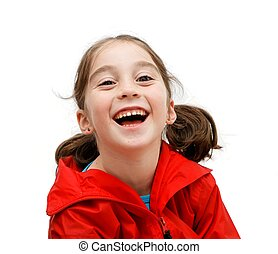 Laughing seven years girl with pigtails isolated