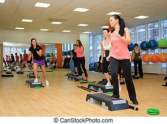 Beautifull, femininas, passo, tábua, durante, exercício