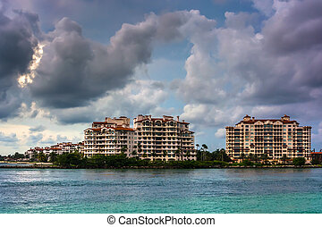 Fisher Island, seen from South Beach, Miami, Florida.