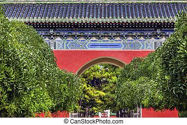 Város, nap, liget, kína,  Beijing, kapu, halánték, piros