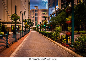Buildings and landscaping along a street in Orlando,...