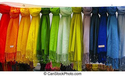 colorido, pashmina, bufandas