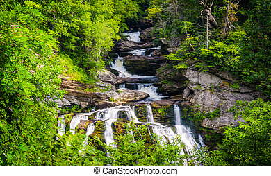 Cullasaja Falls, in Nantahala National Forest, North...