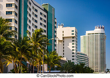 Buildings along Collins Avenue in Miami Beach, Florida. -...