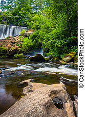 Dam and cascades on the Cullasaja River, Highlands, North...