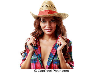 portrait of a beautiful woman cowgirl on white background
