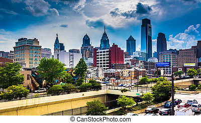 View of the Philadelphia skyline from the Reading Viaduct,...