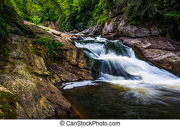 Waterfall on the Cullasaja River in Nantahala National...