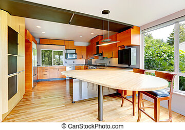 Modern bright orange kitchen room