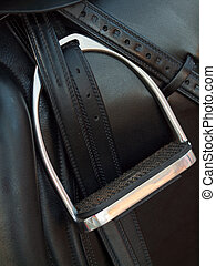 stirrup at dressage saddle close up