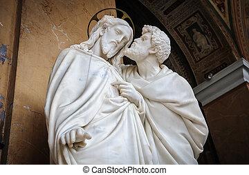 judas, beijo, estátua