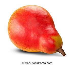 Ripe red pear on white background Clipping Path