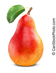 Ripe red pear on white background. Clipping Path